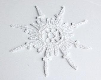 6 white crochet snowflake ornaments. Crochet Christmas decoration. Baptism decoration. Christening decoration. Lace snowflake ornament set 6