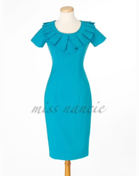 Pleated 50s joan Pencil dress Mad men Reproduction dress wiggle