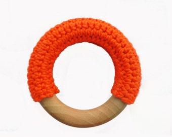 Crochet covered natural wooden baby teething ring / teether (Tangerine)