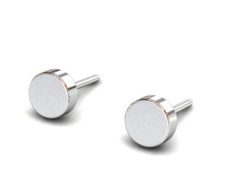 Simple and Modern Flat Circle Sterling Silver Earrings, Tiny and Cute Circle Disc Silver Studs, Unique Handmade Jewelry,