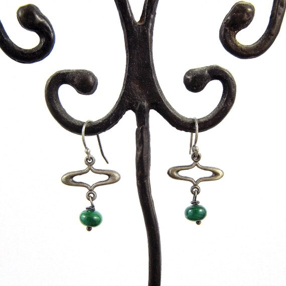 Oxidized sterling silver with green apatite earrings, Romantic and vintage style dangle earrings, Handmade by Gwen Park Jewellery Designs
