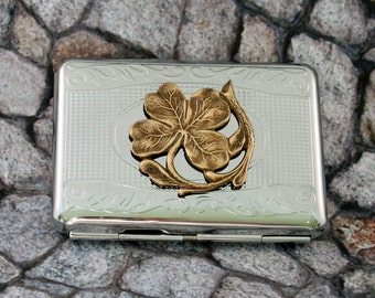Clover Cigarette Case Business Card Case Steampunk Good Luck Victorian Silver Finish Metal Wallet