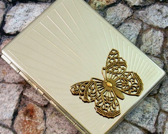 Butterfly Cigarette Case  Business Card Case Steampunk Gothic Victorian Metal Wallet