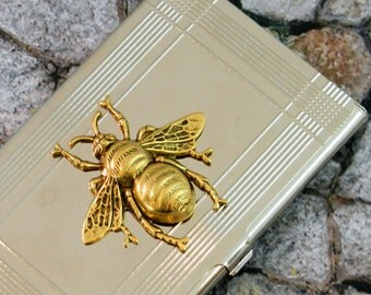 Bee Business Card Case Steampunk Victorian Wasp Metal Wallet Accessory