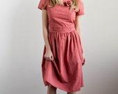 1980's Dress/ Vintage Salmon Cotton Full-Skirt Dress Medium-Large