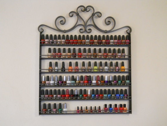 "Hanging Nail Polish Rack Wrought Iron Metal ""Heart Design"" Custom Design Holds 132 Bottles Of Polish"