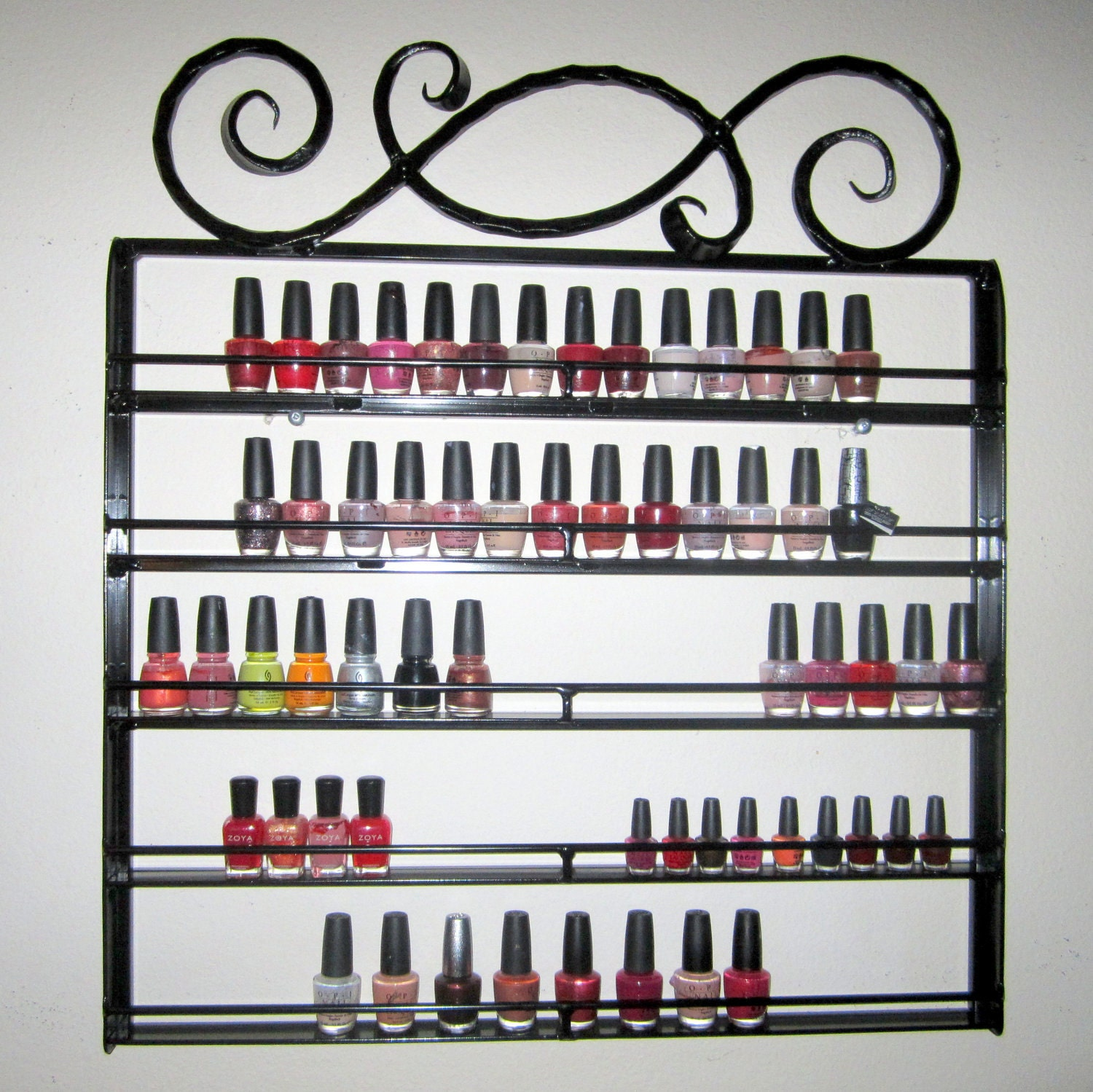 Hanging Nail Polish Rack Wrought Iron Metal Catch The