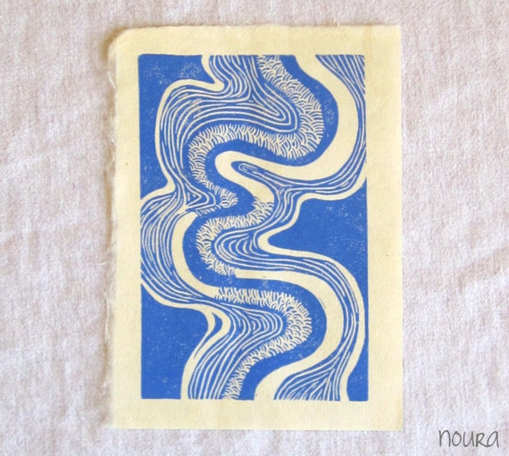 riverbend -- hand-printed linocut on Kitakata, 5x7 -- blue, hand-pulled block print, nature art, relief print, printmaking, home decor