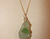"20"" Silver Wire Wrapped NS Green Beach Glass Necklace /0348"