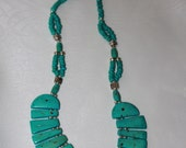 """24"""" Turquoise Gemstone and Silver Accent Bead Necklace"""