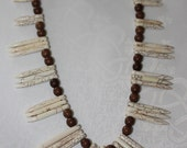 "22"" White Veined Talon Howlite and Brown Howlite Bead Necklace"