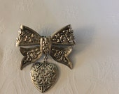 "2"" Metal Engraved Heart and Bow Brooch"