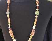 "30"" Multi Gemstone, Carved Wood, Seed Bead, Clay and Glass Bead Necklace"
