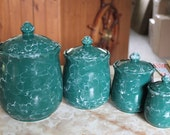Vintage 4 Piece Handmade Ceramic Cannister Set