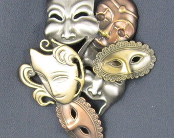 Masquerade Brooch- Comedy Tradgey- Theater Jewelry
