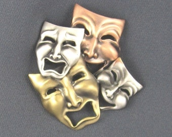 Comedy Tragedy Brooch- Comedy Tradgey Jewelry- Theater Jewelry