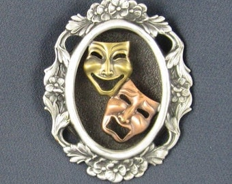 Comedy Tragedy Brooch- Comedy Tradgey Jewelry