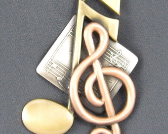 Music Brooch- Music Jewelry- Music Note- G Clef
