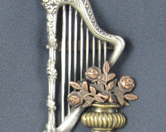 Harp Brooch- Hary Jewelry- Harp Pin
