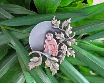 Monkey by Moonlight Brooch- Monkey Jewelry- Wild Animals