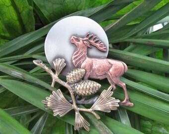 Moonlit Deer Brooch- Deer Brooch- Deer Jewelry
