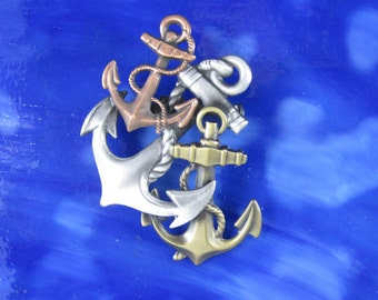 Anchor Brooch- Anchor Jewelry- Nautical Jewelry- Nautical Pin- Nautical Anchor