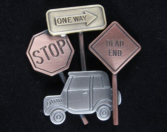 Driver Training Brooch- Traffic Signs- Car Jewelry- Drivers Education- mixed metal jewelry