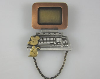Compute and Mouse Brooch- Teacher Gifts- Geek Jewelry- Computer Science