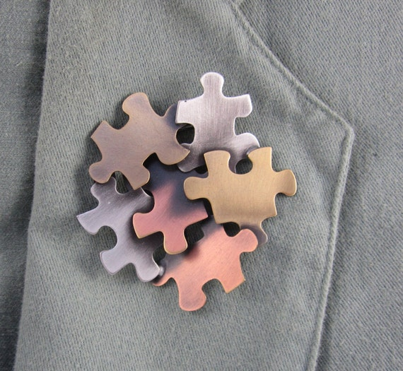 Autism Awareness Brooch- Autism Jewelry- Autism Pin- Puzzle Pieces