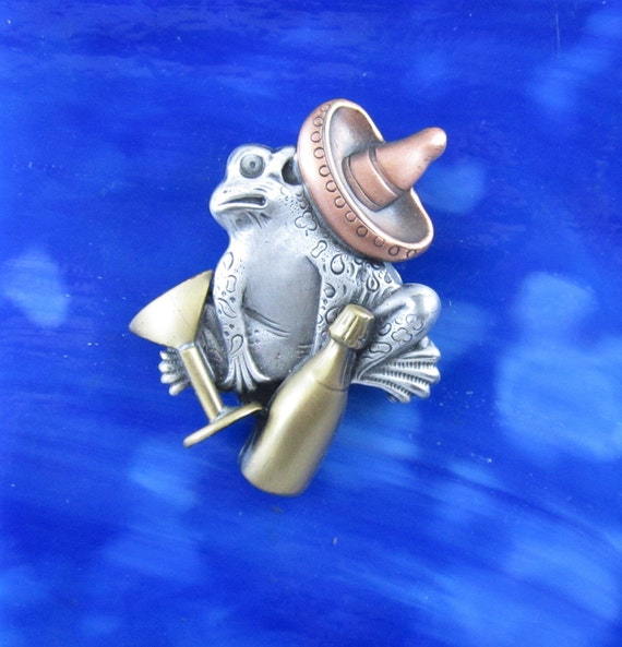 Senor Frog Brooch- Frog Jewelry- Froggy- Frog Pin- Frog Gifts