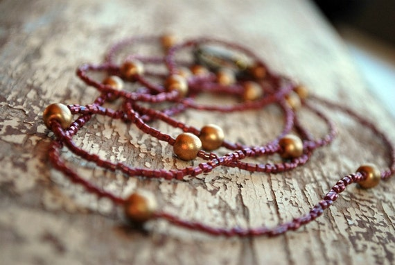 Layered Necklace Long Beaded Dainty. Cranberry Pink and Gold. Boho Jewelry. Cottage Chic