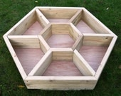 EXTRA LARGE (90cm x 80cm) hand made wooden hexagonal HERB wheel patio planter