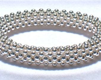 Sterling Silver Beaded Bangle Bracelet