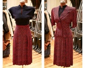 RESERVED for Zoe - Vintage 1950s Red And Blue Pattern Pleated Dress with Matching Peplum Jacket