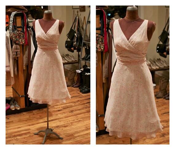 RESERVED for Monique until 6/24 - Vintage 1990s Does 1950s 1960s Confetti Print Chiffon Garden Party Dress