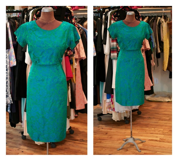1950s 1960s Green with Blue Floral Print Silk Satin Wiggle Party Mad Men Dress
