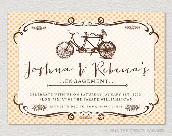 Tandem Bike Wedding Invitations: PRINTABLE Tandem Bicycle Invitation For Engagement Or Wedding