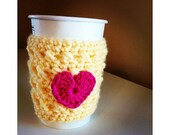Buttermilk yellow reusable coffee cozy with bright pink heart. also available as Mason Jar Cozy, get well soon gift, feel better gift