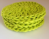 BRIGHT GREEN, eco friendly cotton scrubbies, make up removers, wash cloths, 100% cotton dish cloth