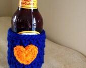 Beer bottle cozy, beer koozie in BLUE and ORANGE, Detroit Tigers baseball.