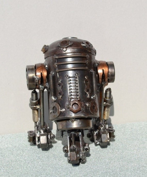 Hand Made R2D2 7 Inches Recycled Scrap Metal