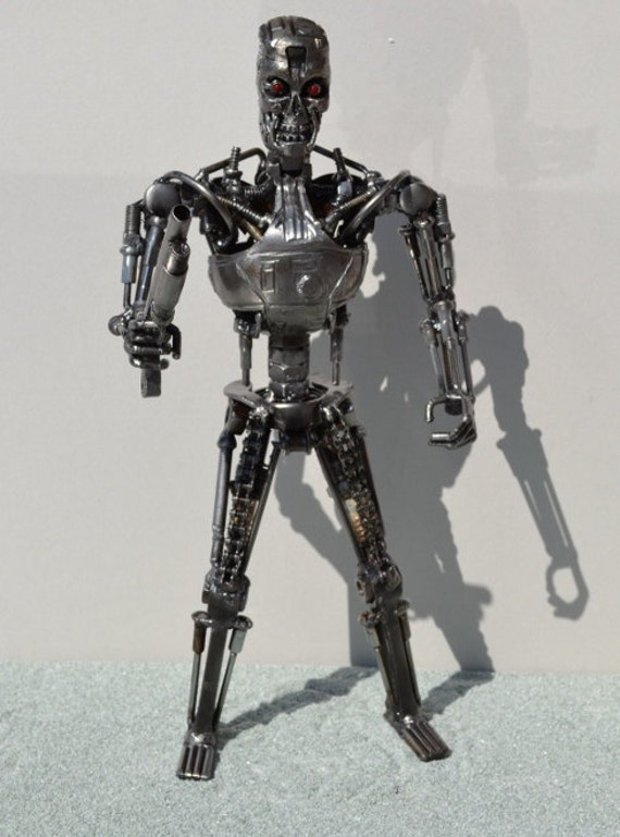 Hand Made TERMINATOR 14 Inches w. GUN  Recycled Scrap Metal