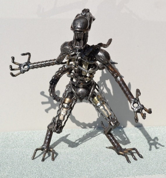 Hand Made ALIEN 12 Inches  Recycled Scrap Metal Art