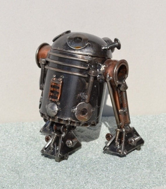Hand Made R2D2 5.5 Inches Recycled Scrap Metal