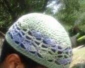 Wisteria trellis is what I call this 100% cotton kufi style beanie.