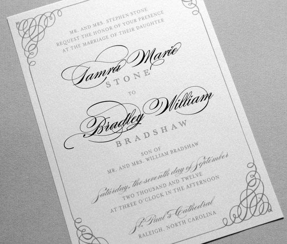 Black And White Wedding Invitations, Black And Gray Wedding Invites, Gray  And White Wedding Invitation, Wedding Invitations