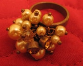 SALE Bronze ring with faux pearls and rhinestones in peach