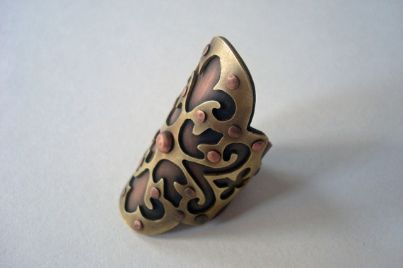 Shield Me - Pierced Riveted Brass and Copper Saddle Ring
