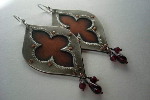 Arabesque Silver Shield - Riveted Sterling Silver and Copper Earrings