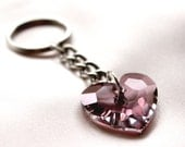 Antique Pink Crystal Heart Keychain